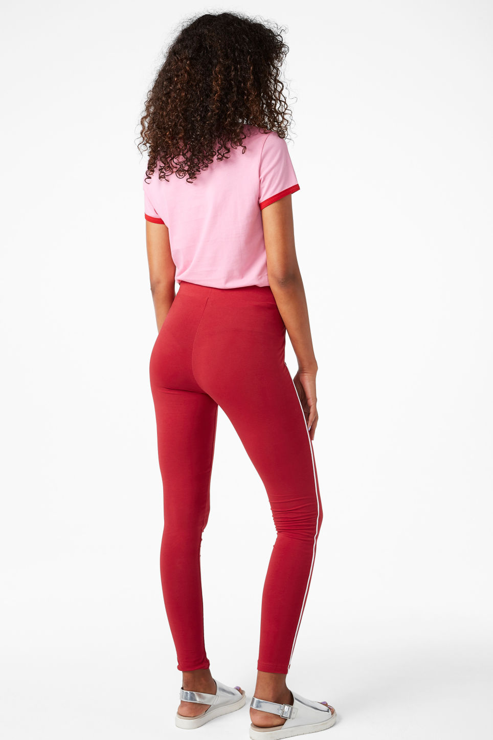 Model back image of Monki striped leggings in red