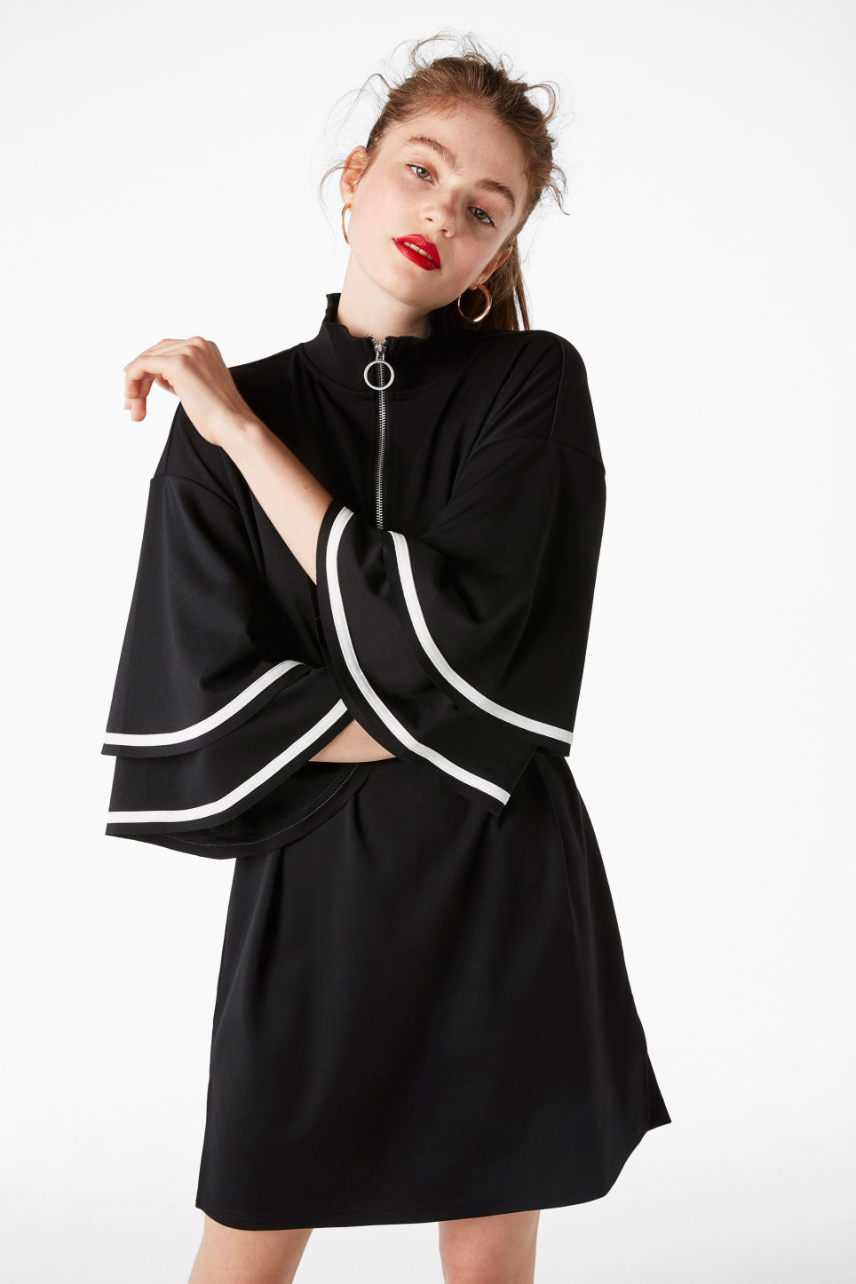 Model front image of Monki ruffled bell sleeve dress in black