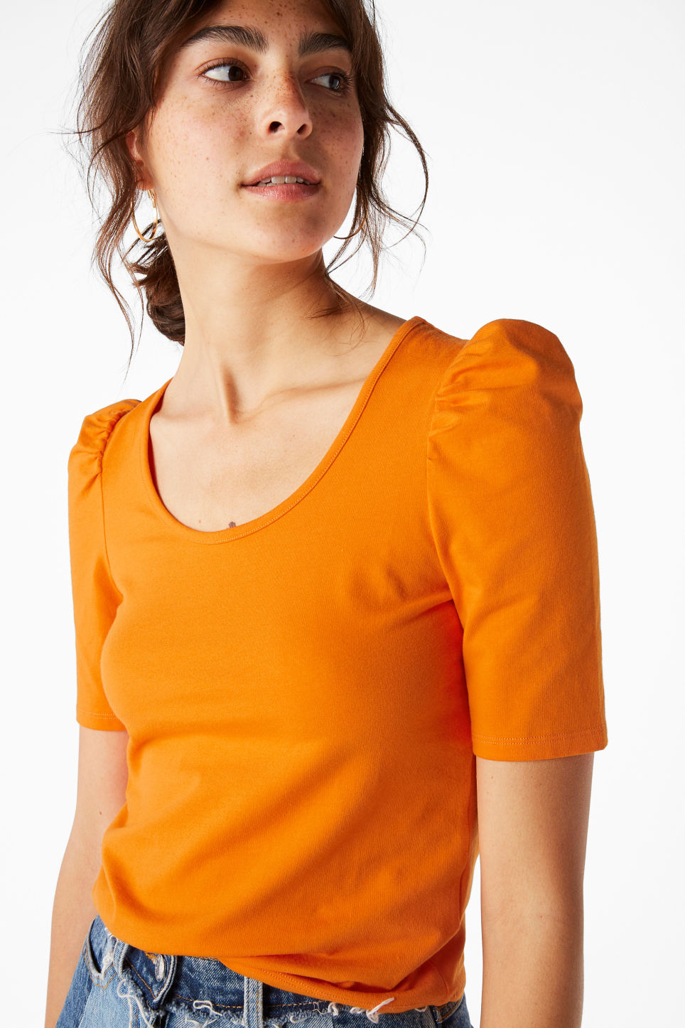 Model front image of Monki puffed sleeve top in orange