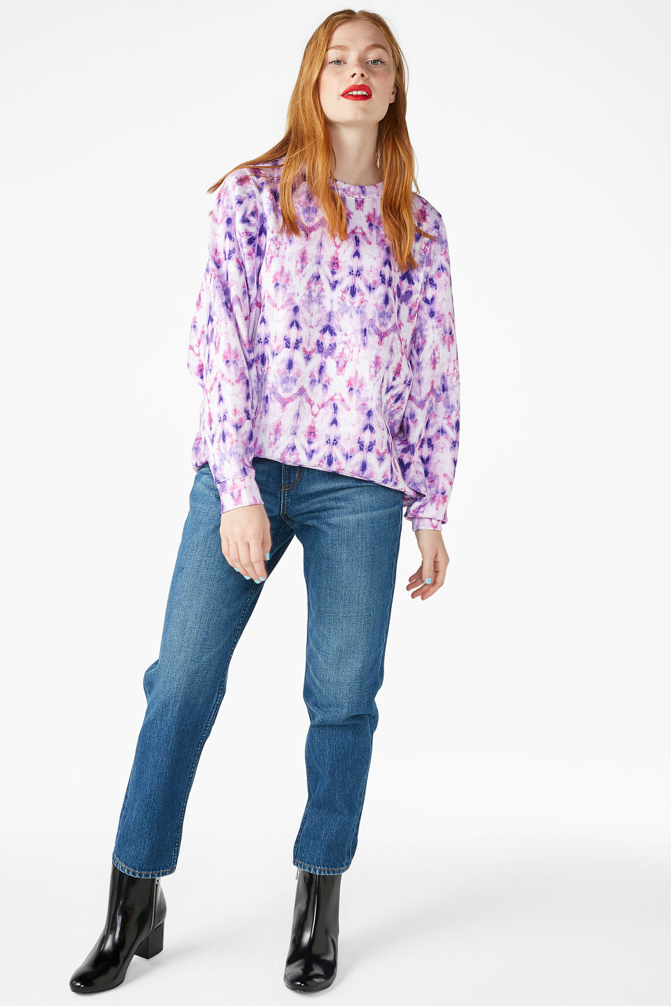 Model front image of Monki oversized scuba sweat top in purple
