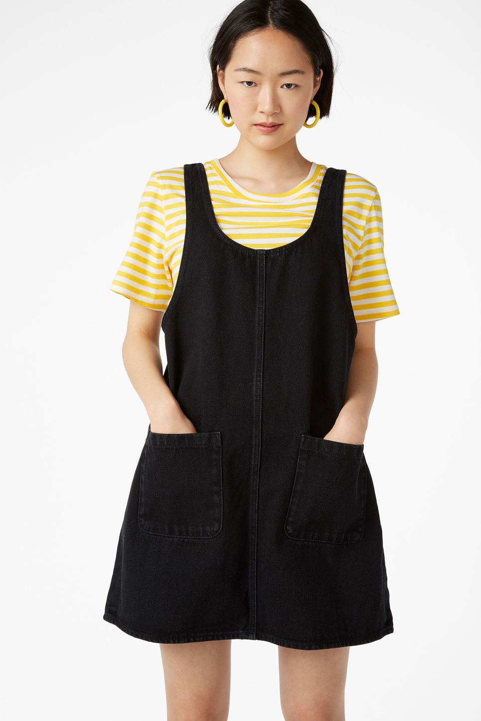 Model front image of Monki denim dress in black