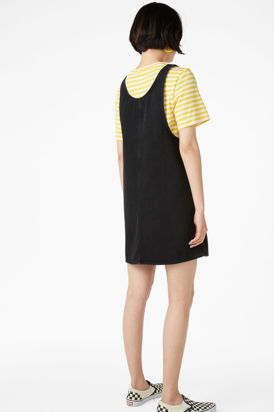 Model back image of Monki denim dress in black