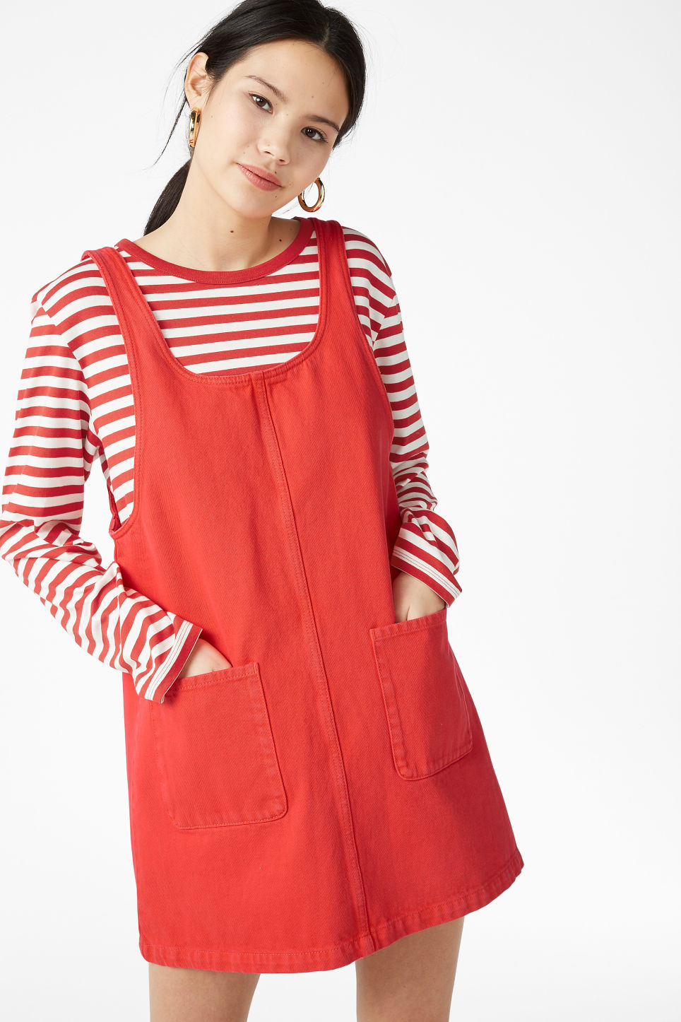 Model front image of Monki denim dress in red
