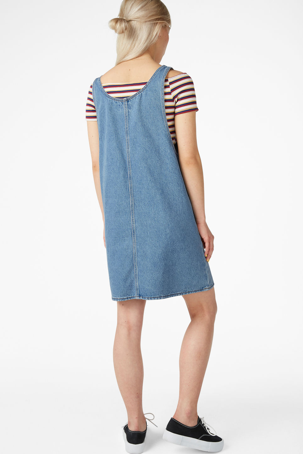 Model back image of Monki denim dress in blue