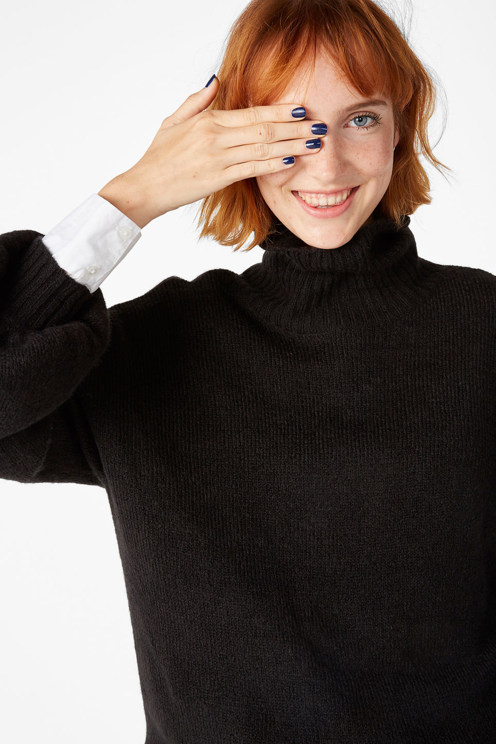 Model front image of Monki polo neck knit in black