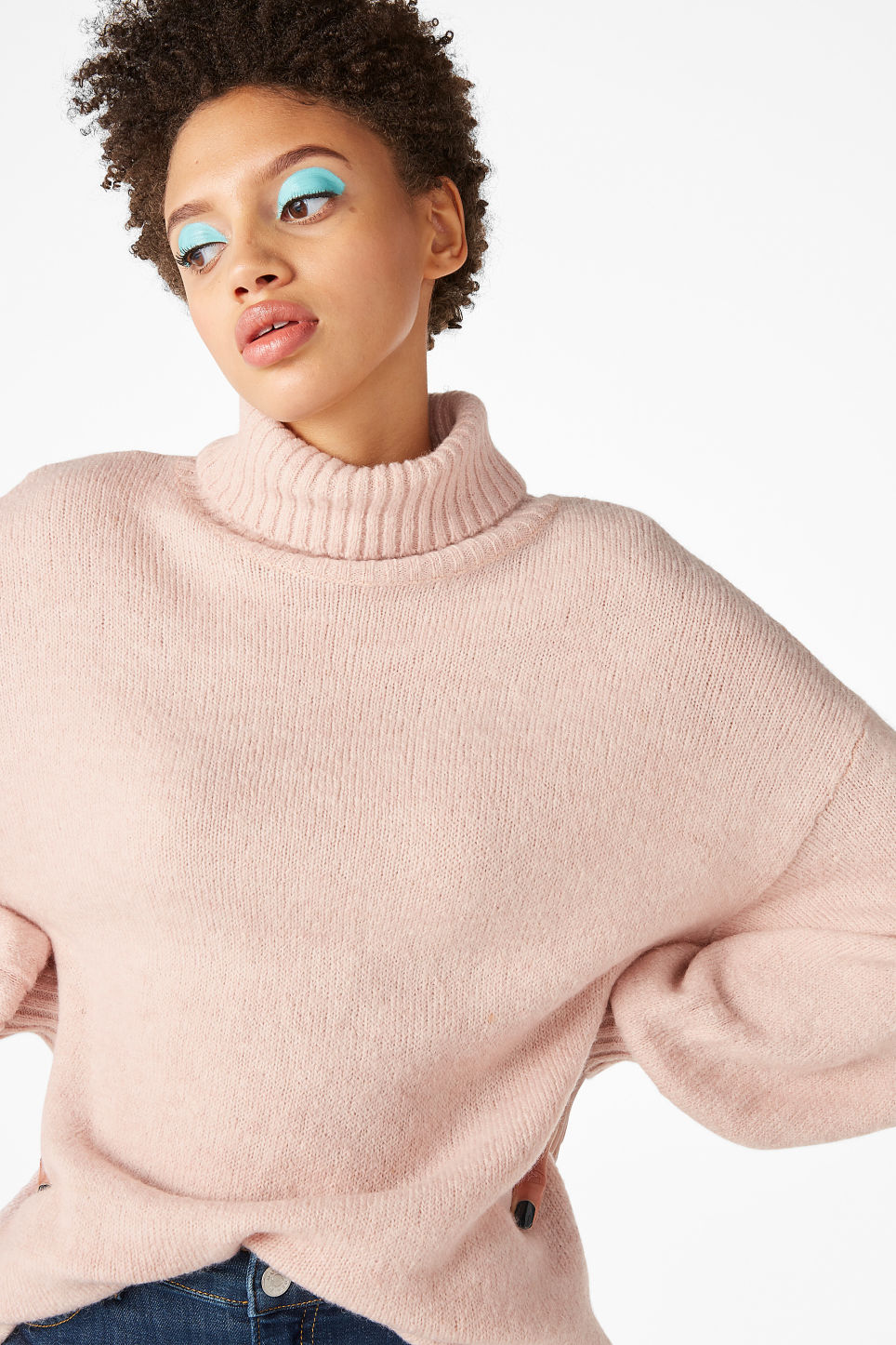 Model front image of Monki polo neck knit in pink