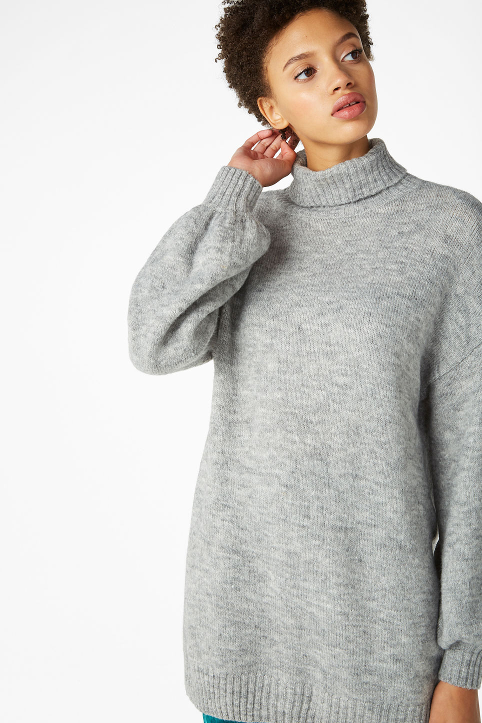 Model front image of Monki polo neck knit in grey