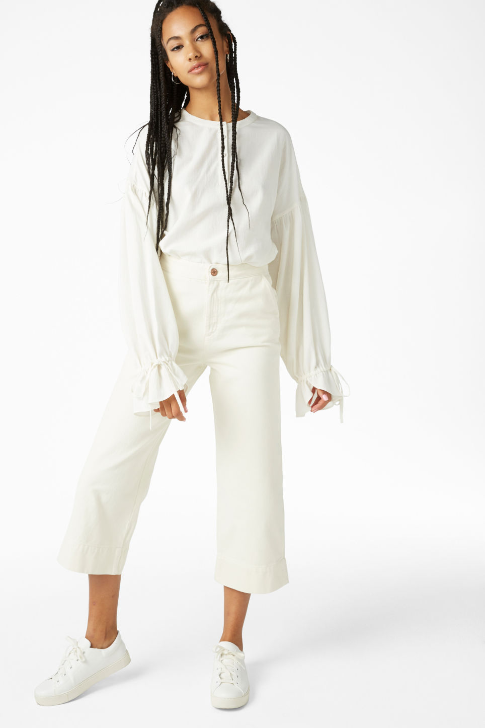 Model front image of Monki wide denim trousers in white