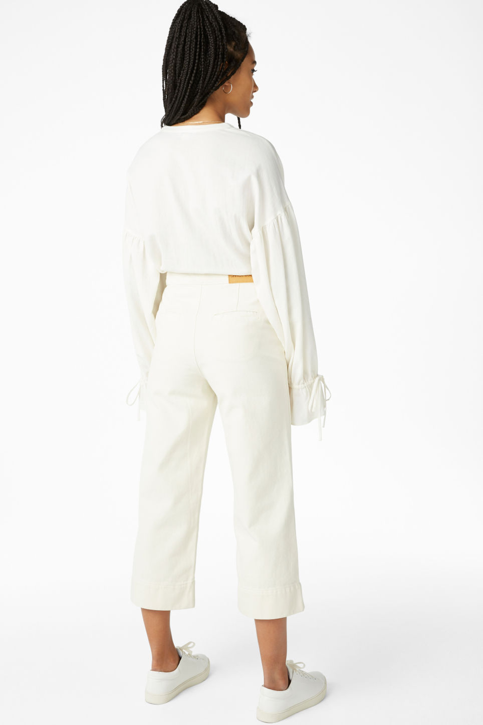 Model back image of Monki wide denim trousers in white