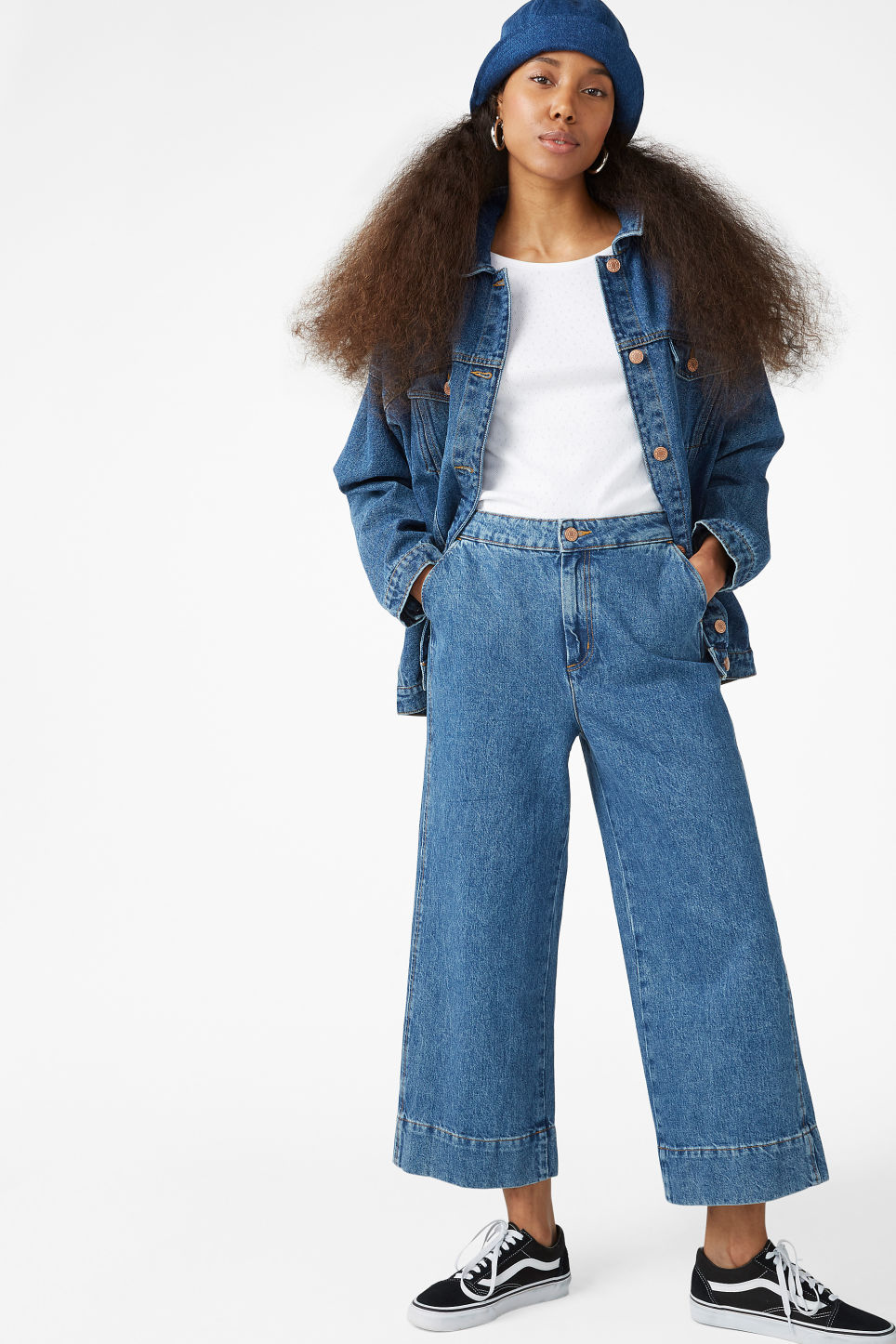 Model front image of Monki wide denim trousers in blue