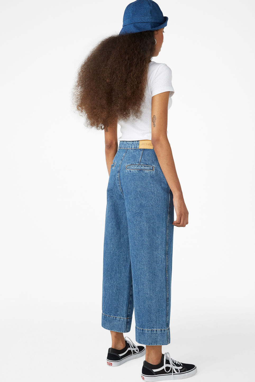 Model back image of Monki wide denim trousers in blue