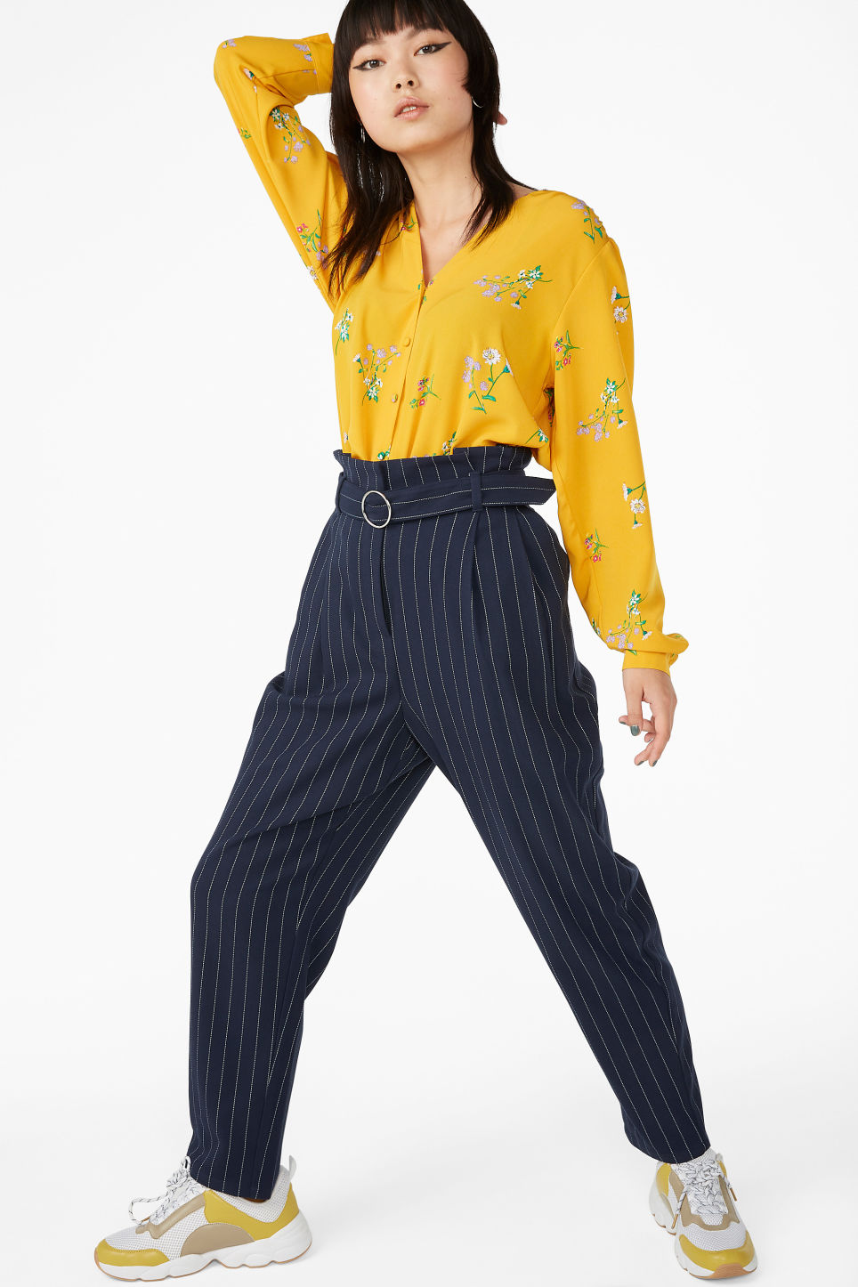 Model front image of Monki wide trousers in blue