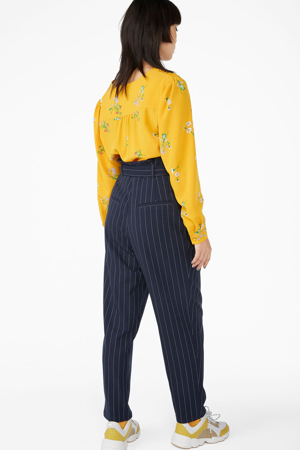 Model back image of Monki wide trousers in blue