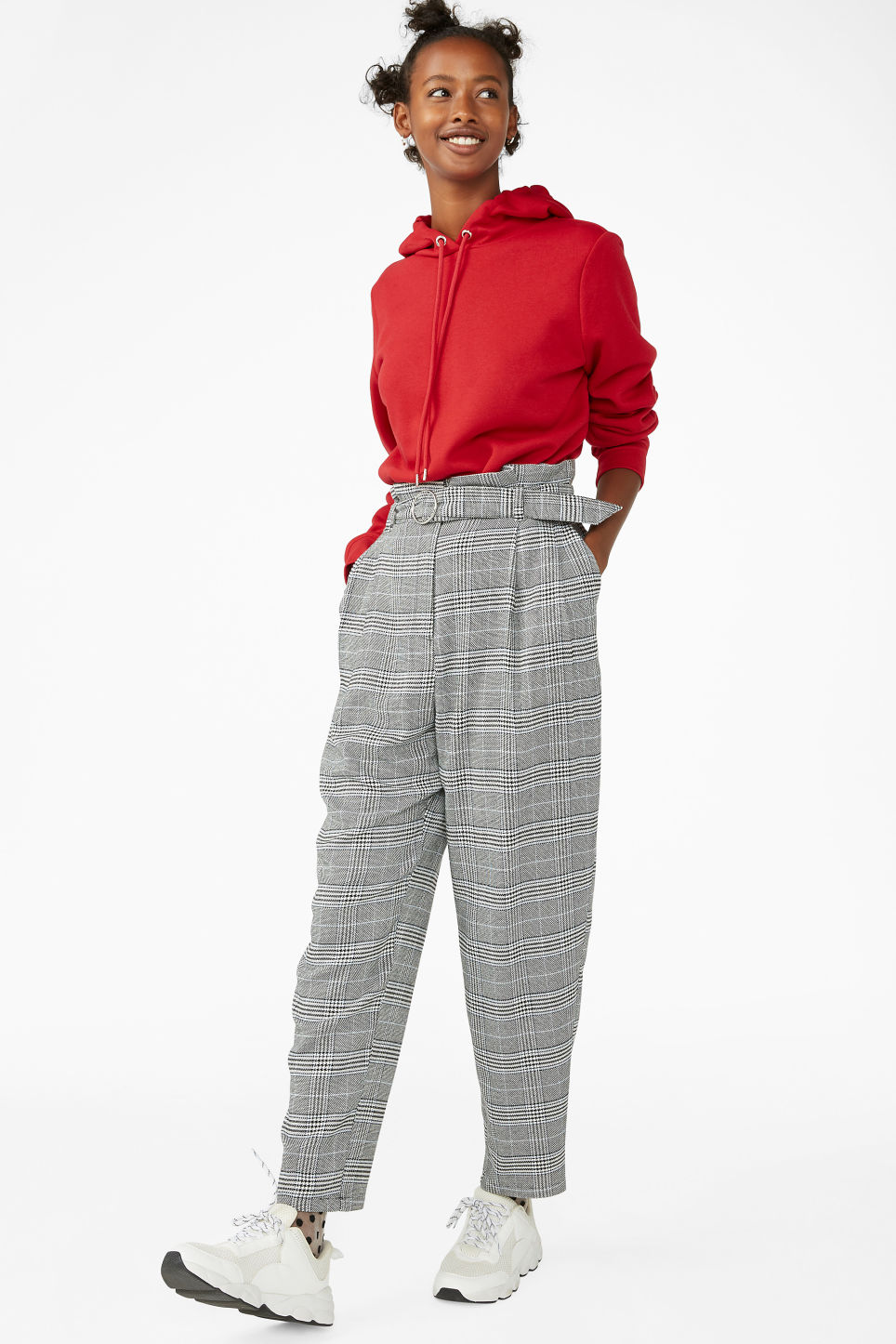Model front image of Monki wide belted trousers in white