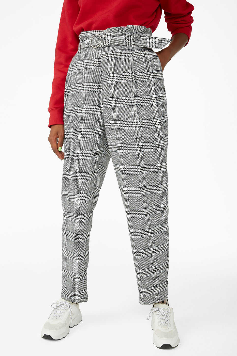 Model side image of Monki wide belted trousers in white