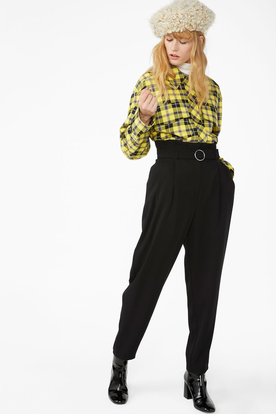 Model front image of Monki wide belted trousers in black