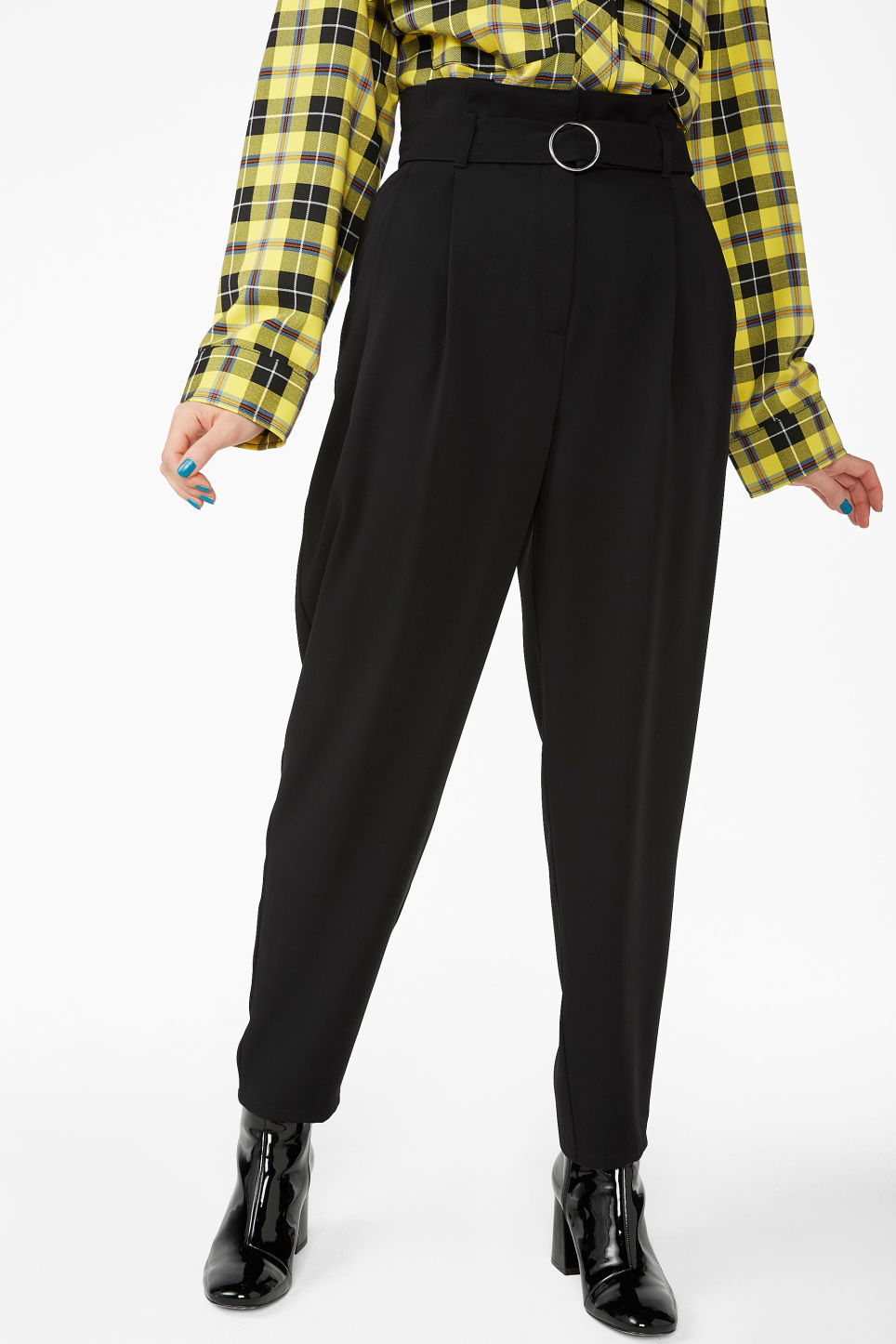 Model side image of Monki wide belted trousers in black