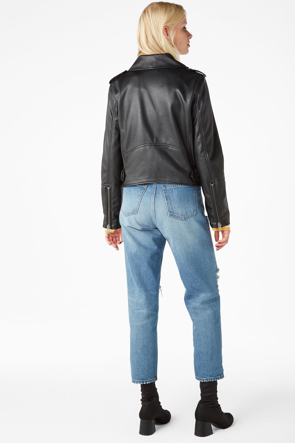 Model back image of Monki cropped biker jacket in black