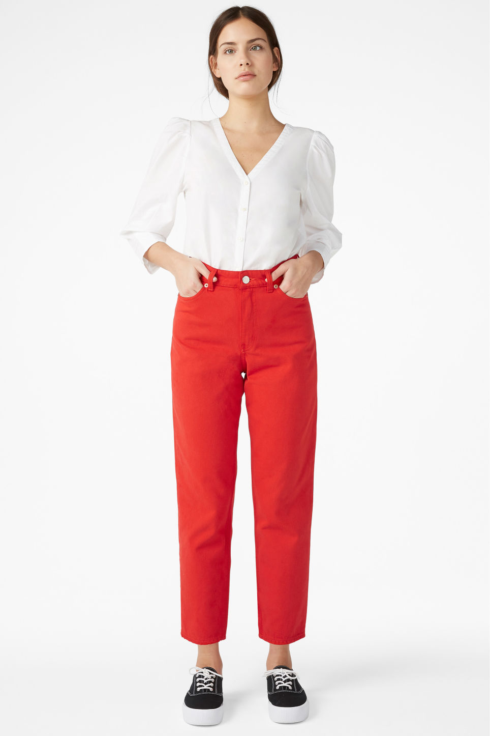 Model front image of Monki taiki jeans in red