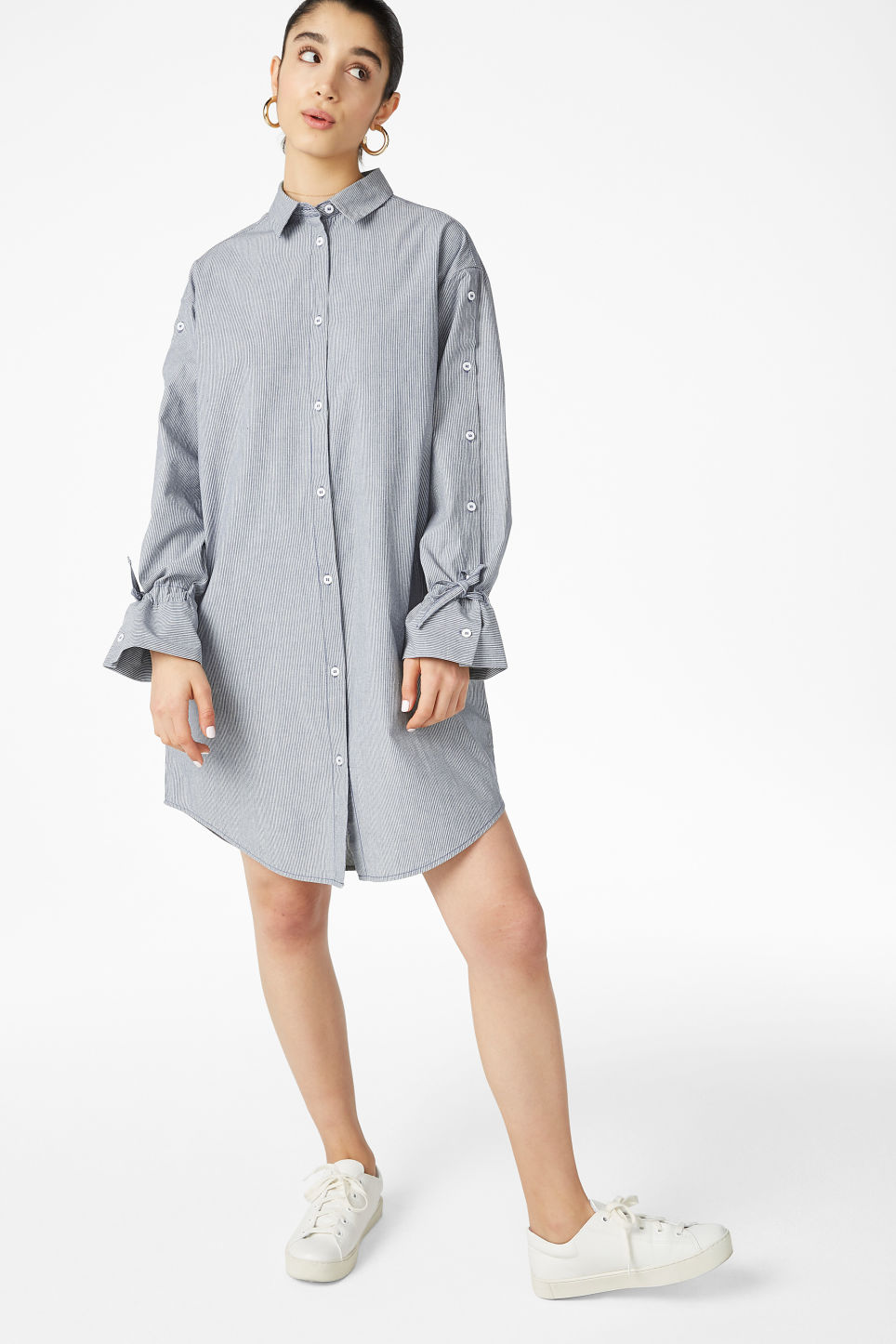 Model front image of Monki shirt dress in blue