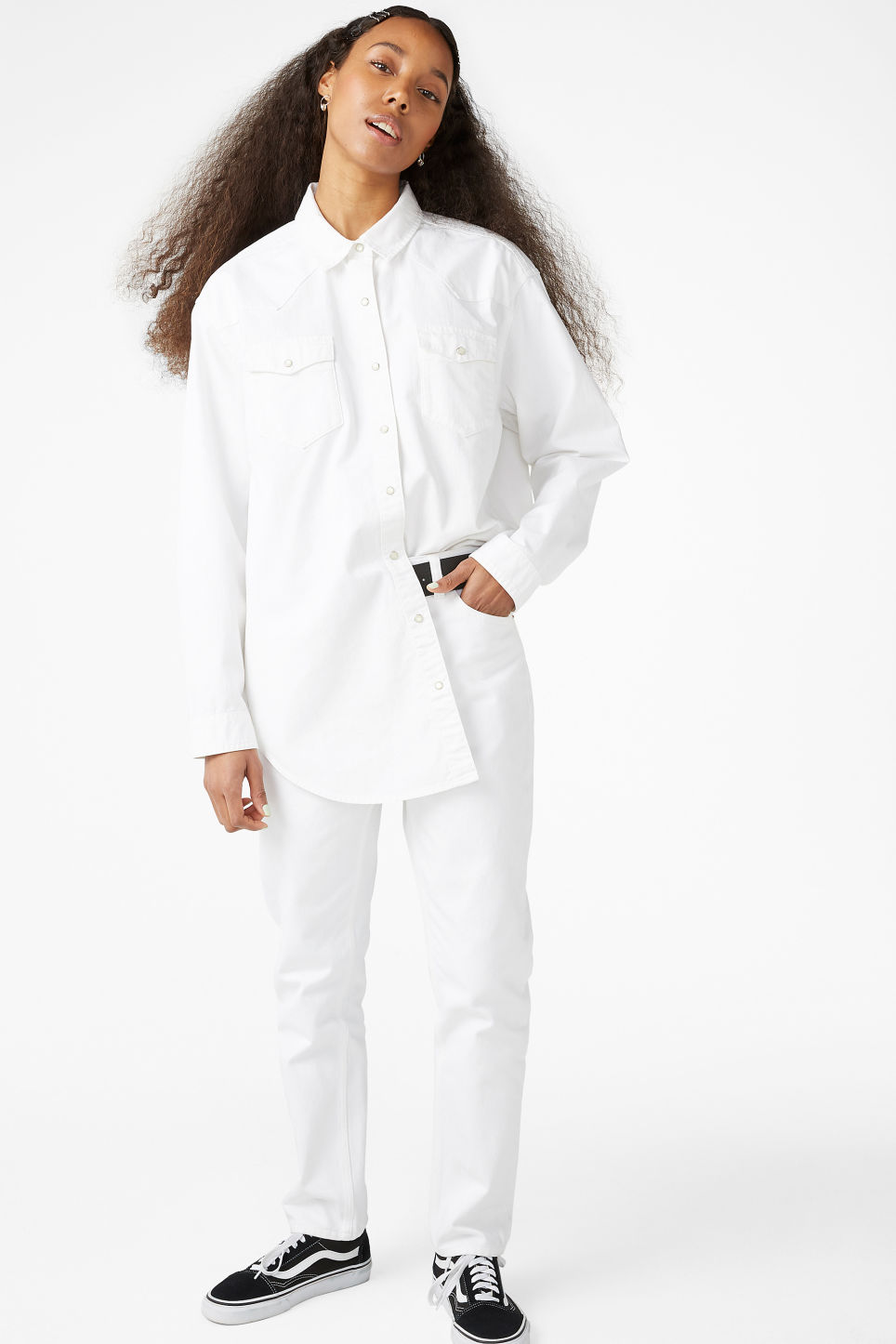 Model front image of Monki denim shirt in white