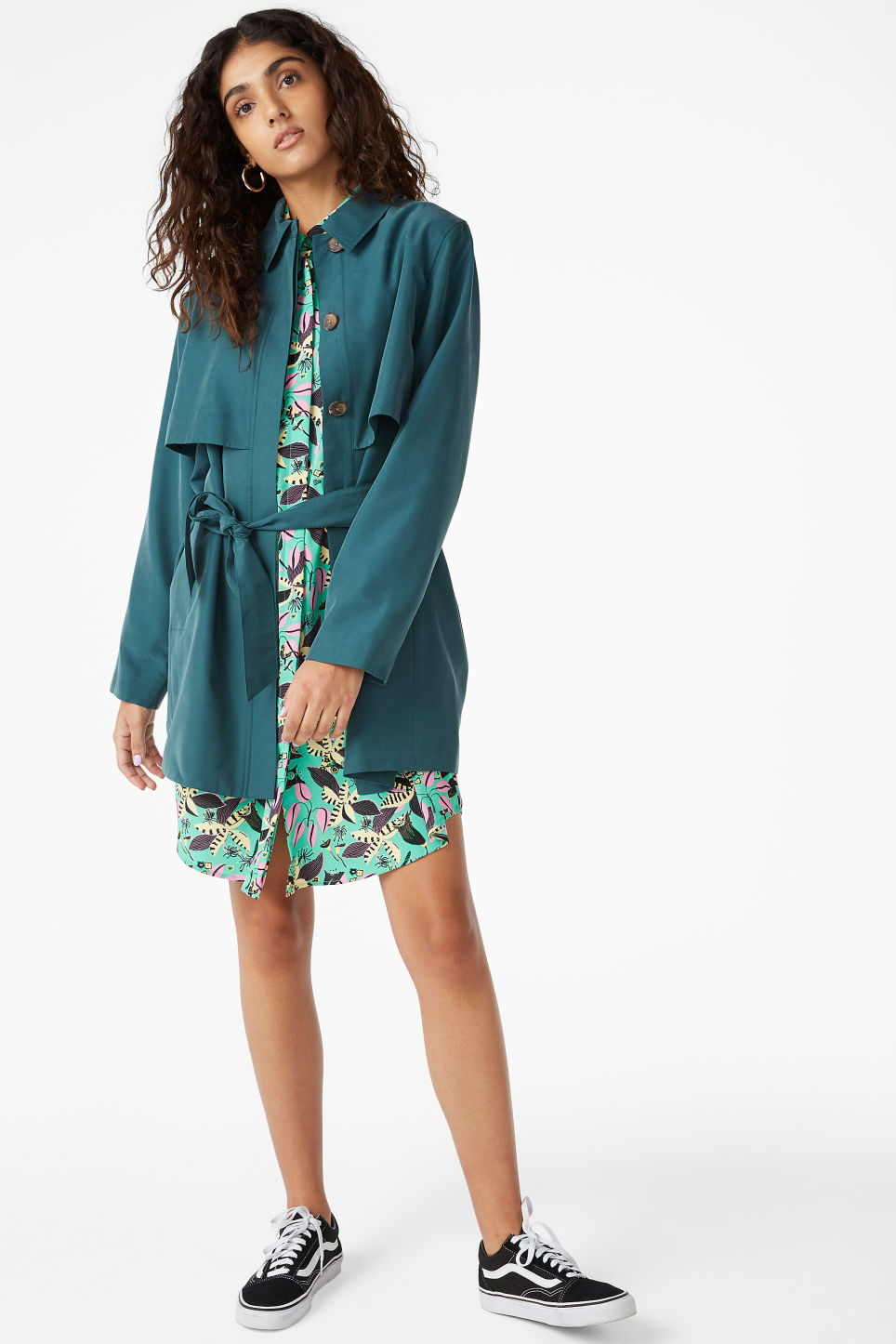 Model front image of Monki soft trench coat in green