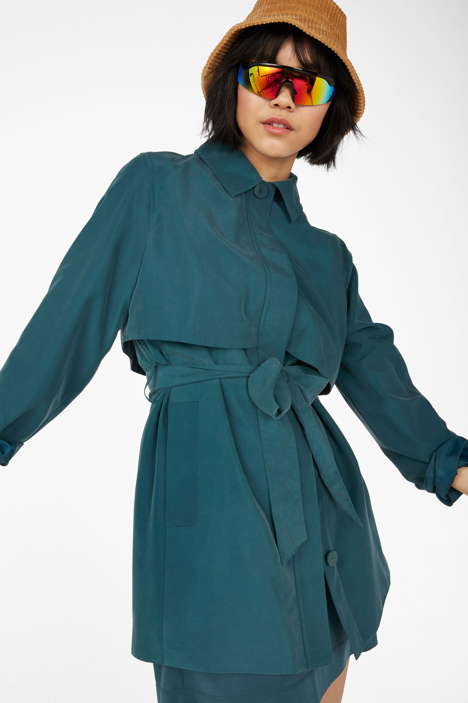 Model front image of Monki soft belted trench coat in green
