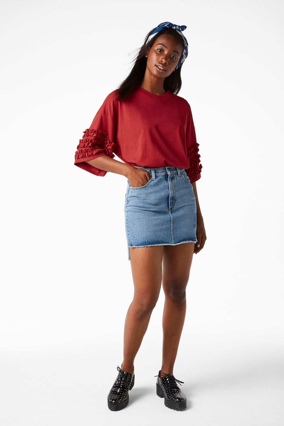 Model front image of Monki t-shirt with ruffle detail in red