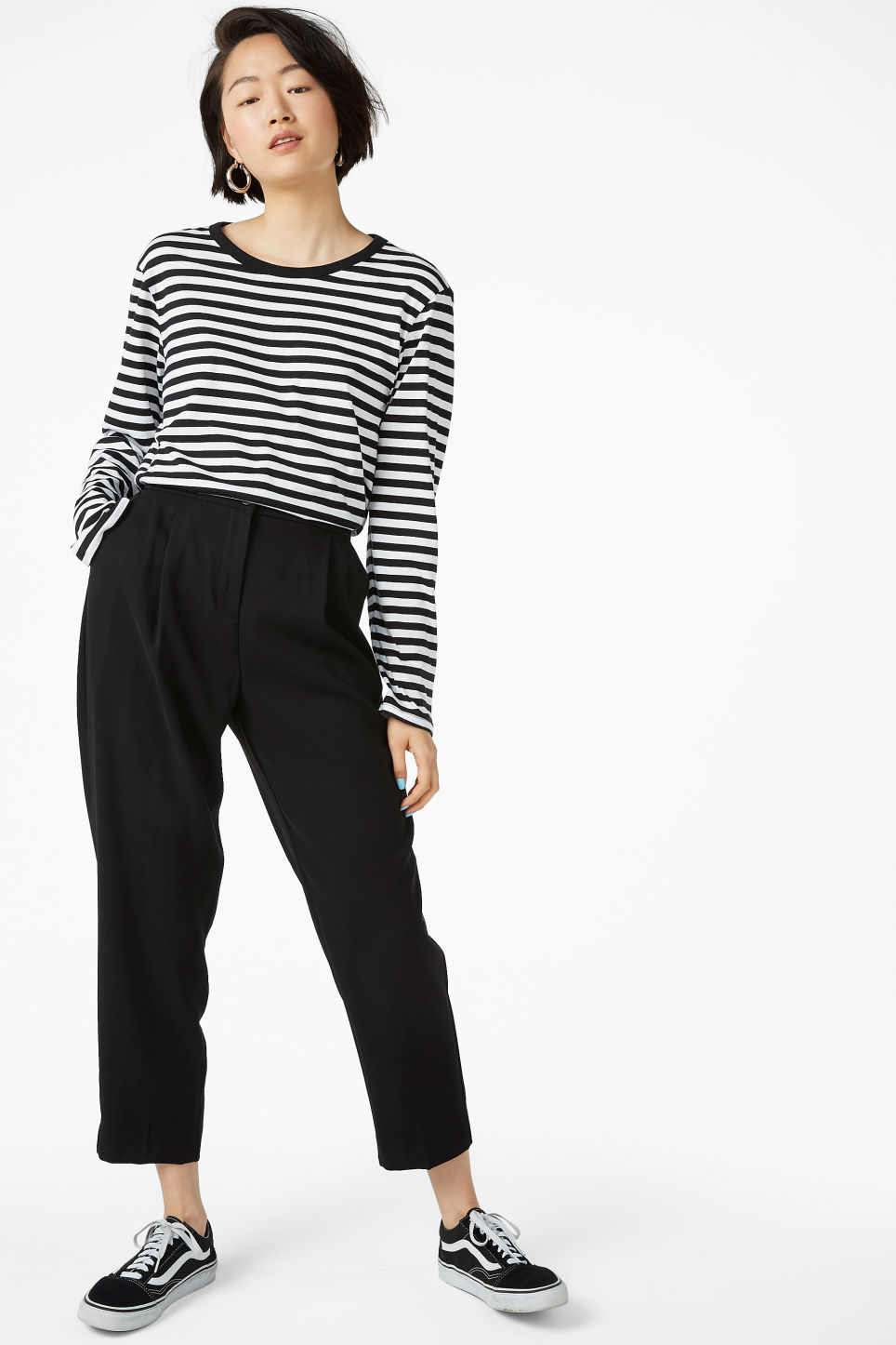 Model front image of Monki dressy trousers in black