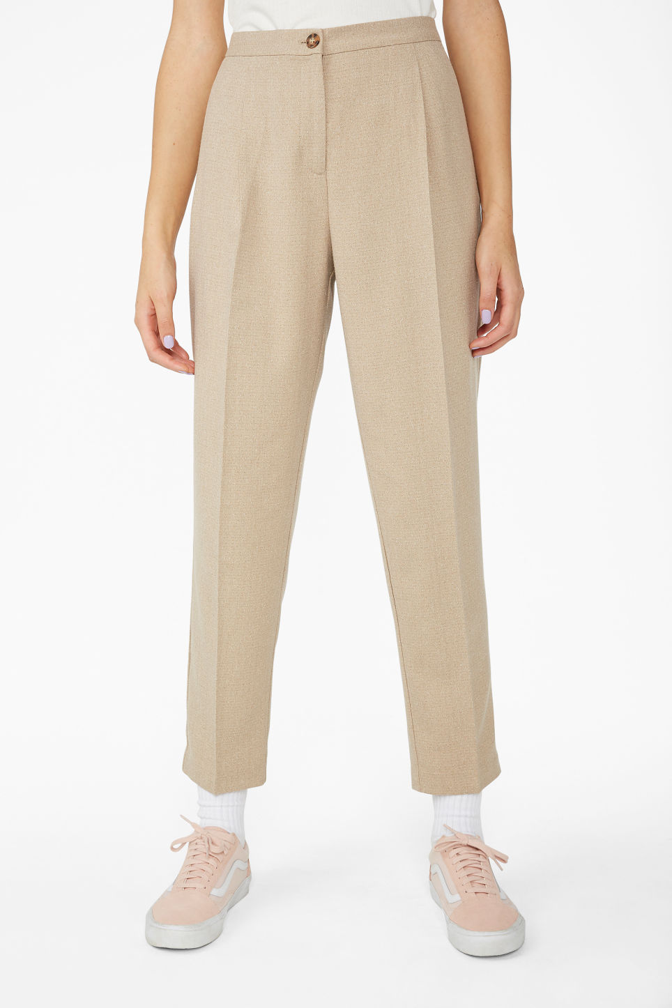 Model side image of Monki dressy tapered trousers in beige