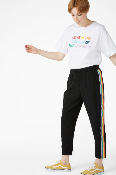 Rainbow side stripe trousers