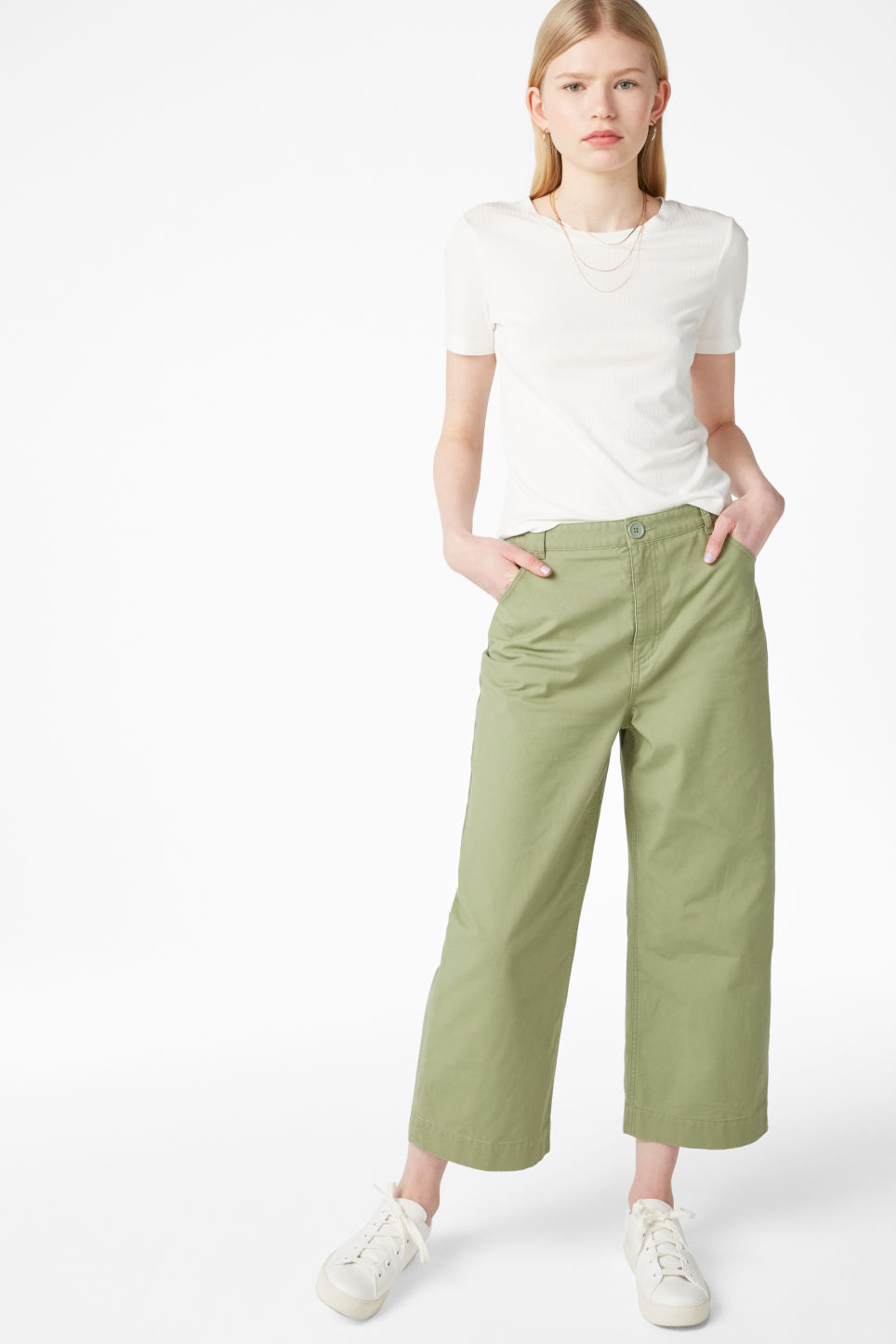 Model front image of Monki wide trousers in green
