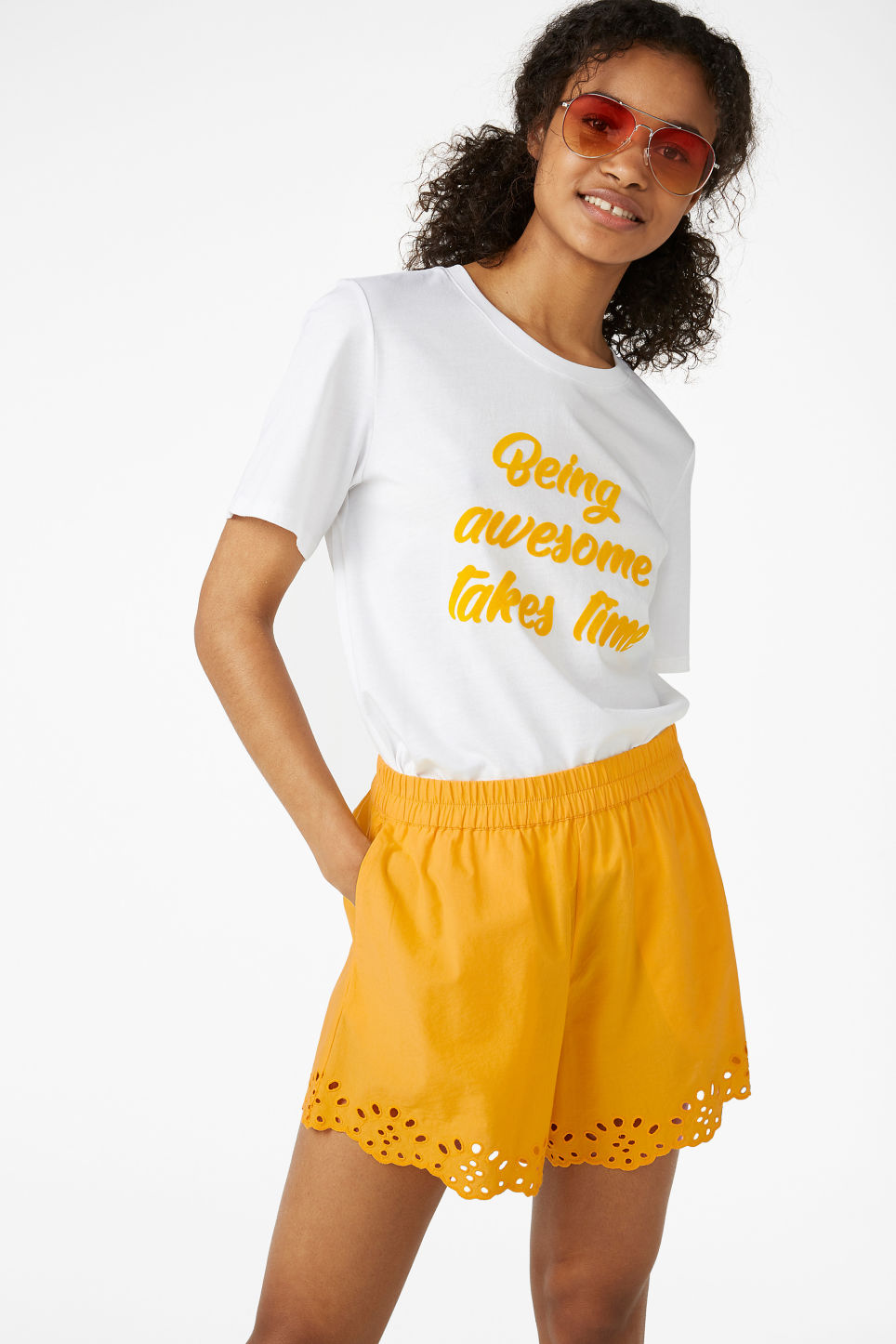 Model front image of Monki flowy shorts in yellow