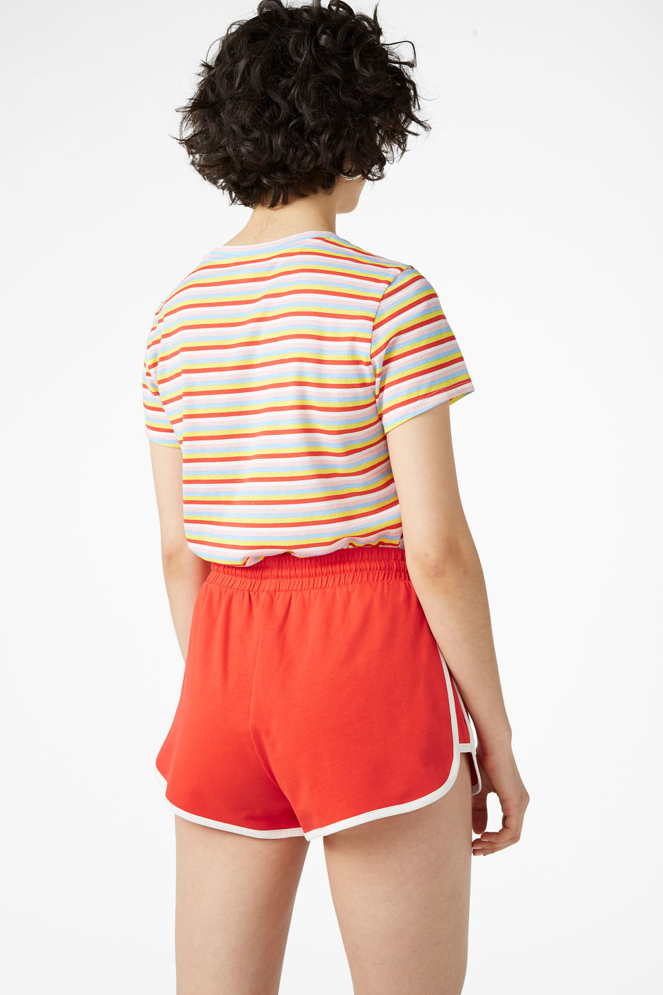 Model back image of Monki sporty shorts in red