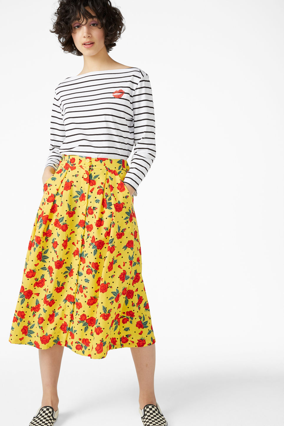 Model front image of Monki midi skirt in yellow