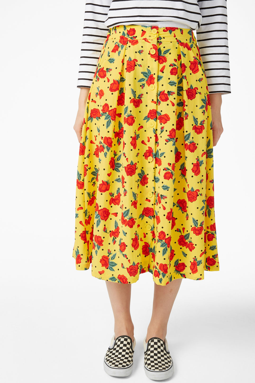 Model side image of Monki midi skirt in yellow