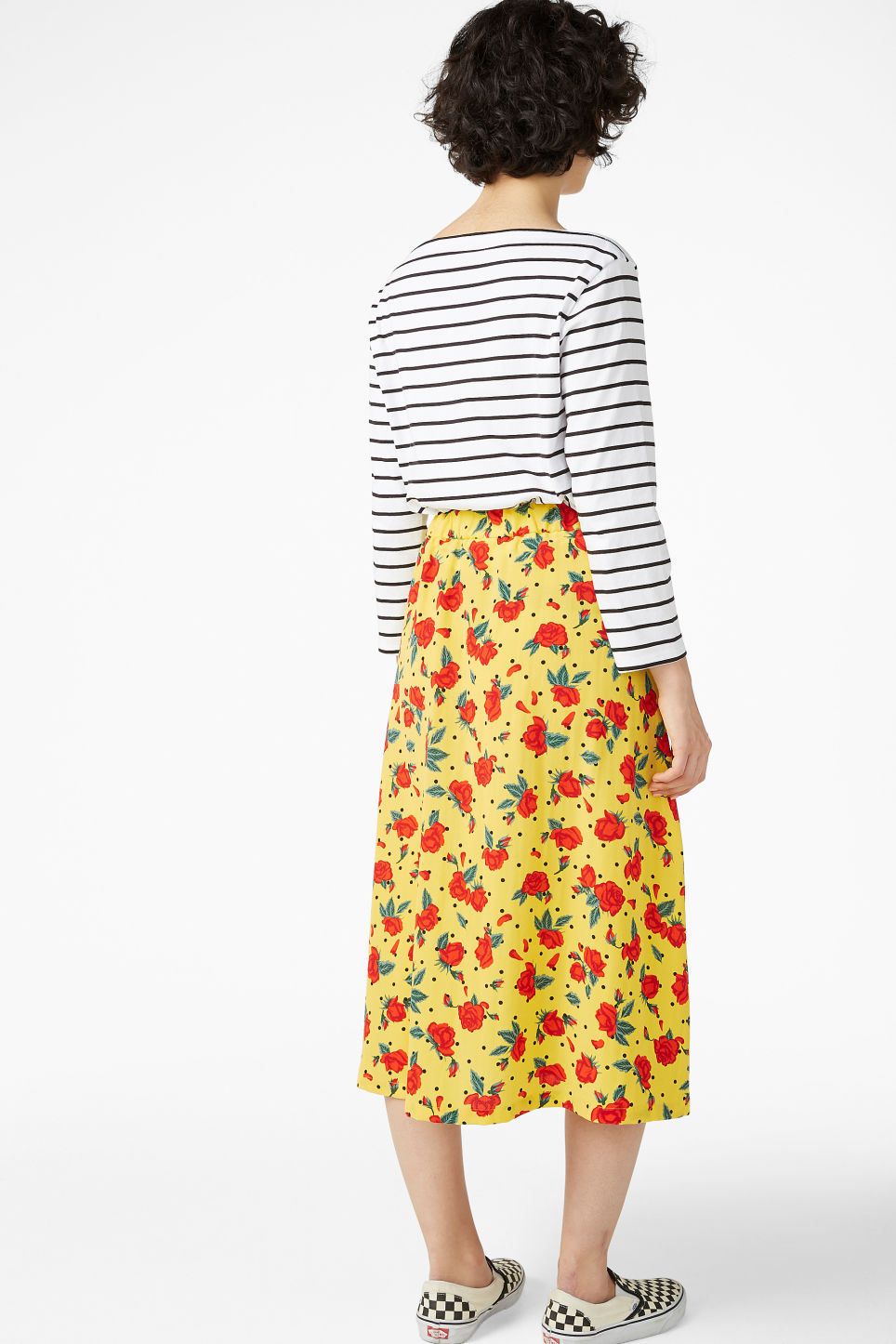 Model back image of Monki midi skirt in yellow