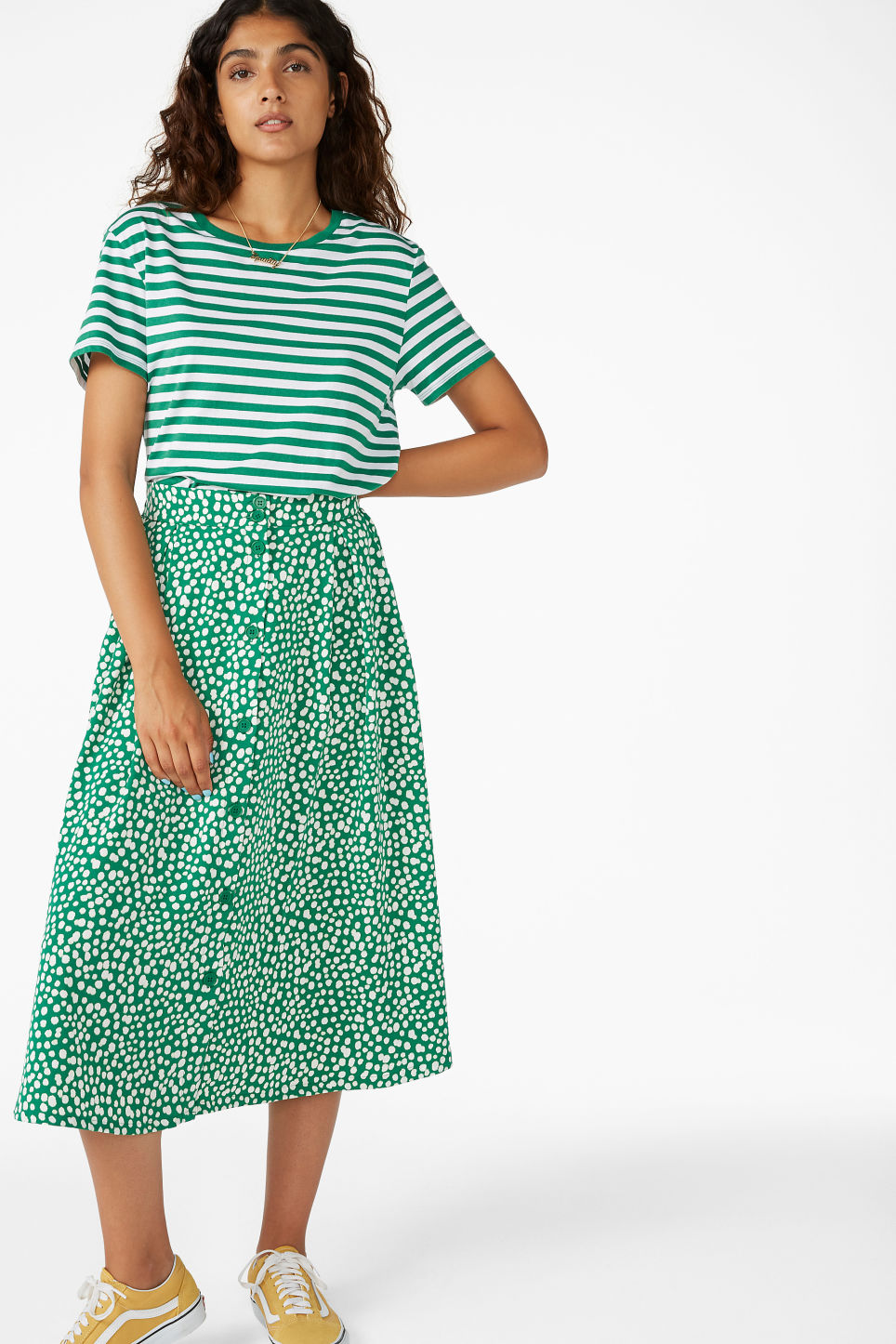 Model front image of Monki midi skirt in green