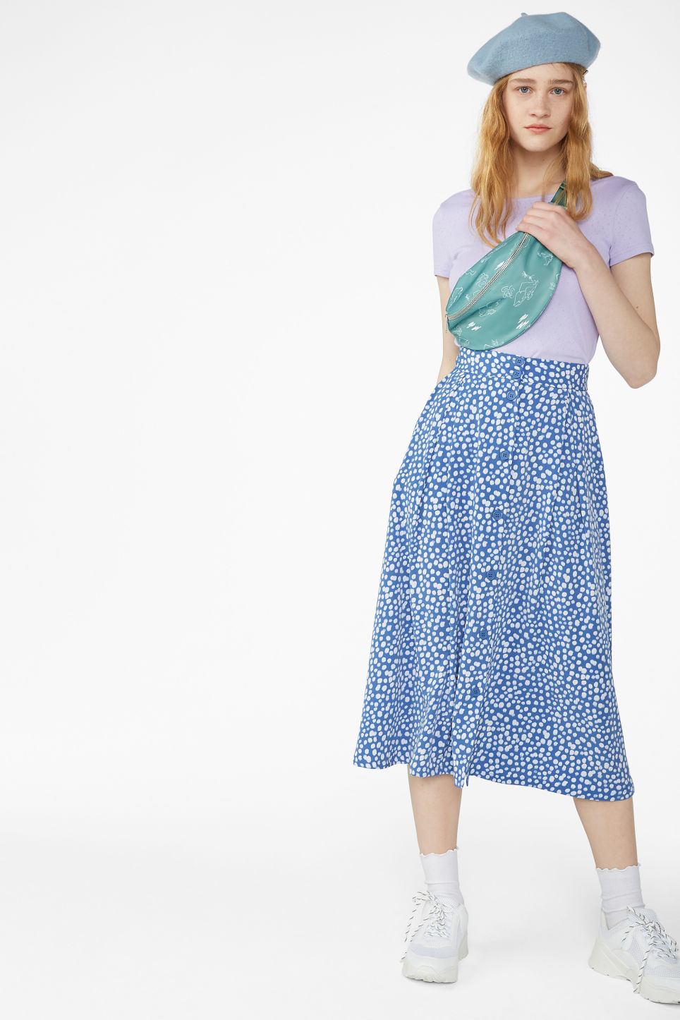 Model front image of Monki pleated midi skirt in blue