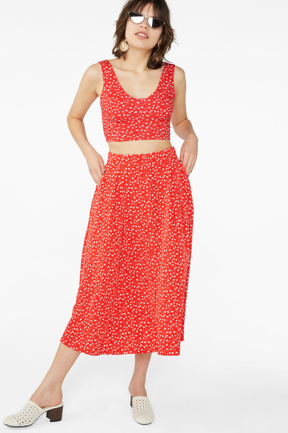 Model front image of Monki pleated midi skirt in red