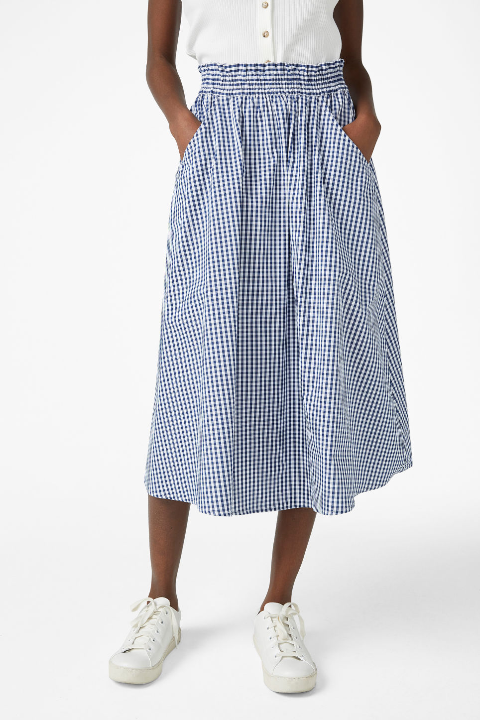 Model side image of Monki midi skirt in blue