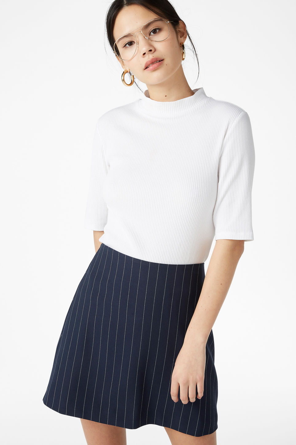 Model front image of Monki mini skirt in blue