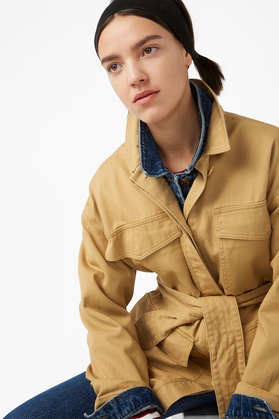 Model front image of Monki utility jacket in yellow