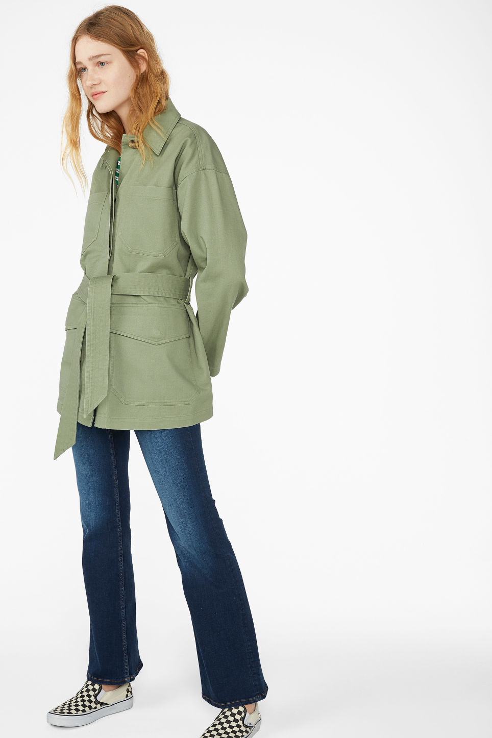 Model front image of Monki utility jacket in green