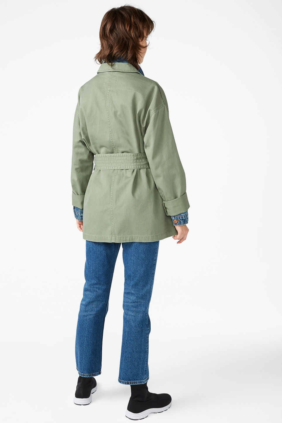 Model back image of Monki utility jacket in green