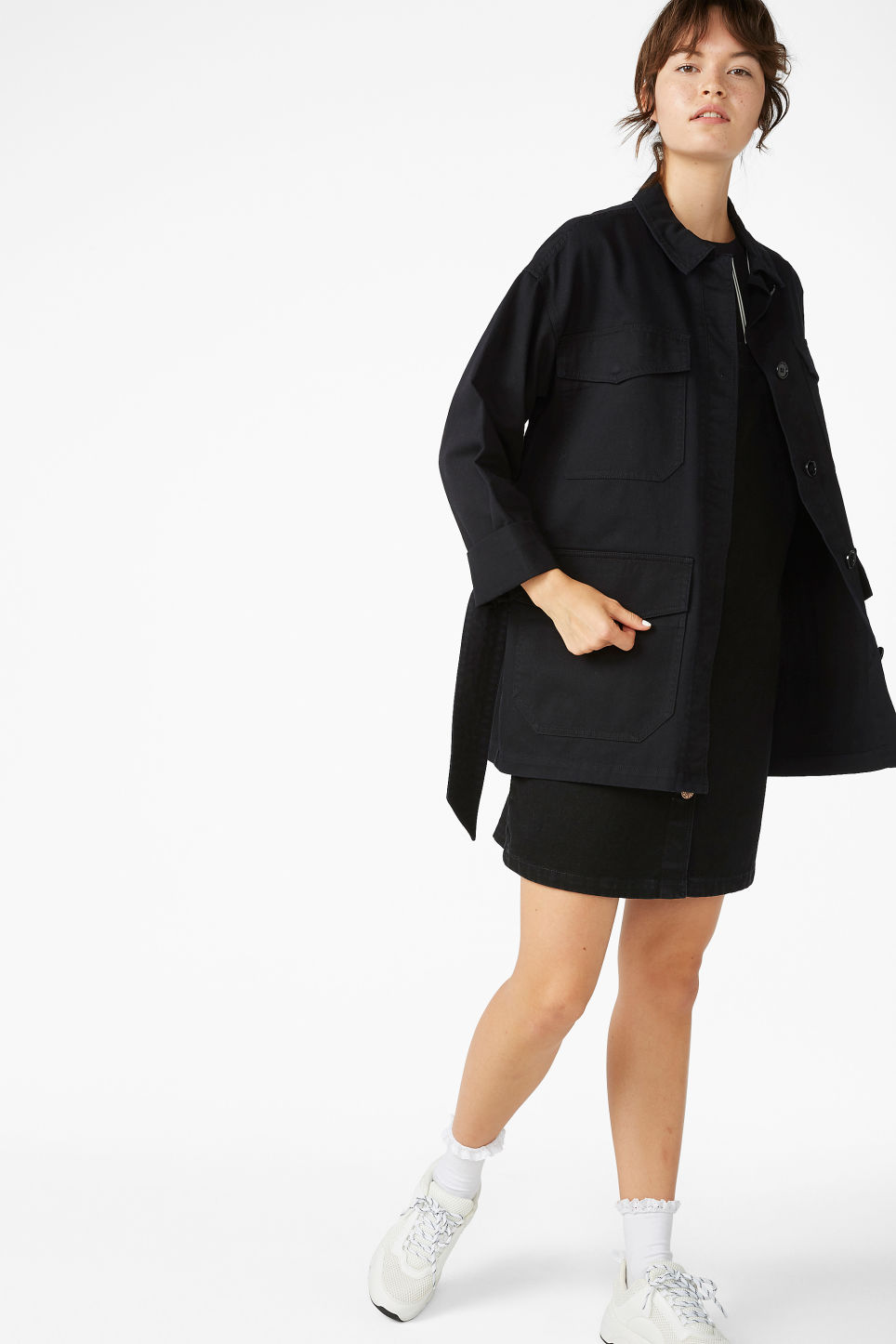 Model front image of Monki utility jacket in black