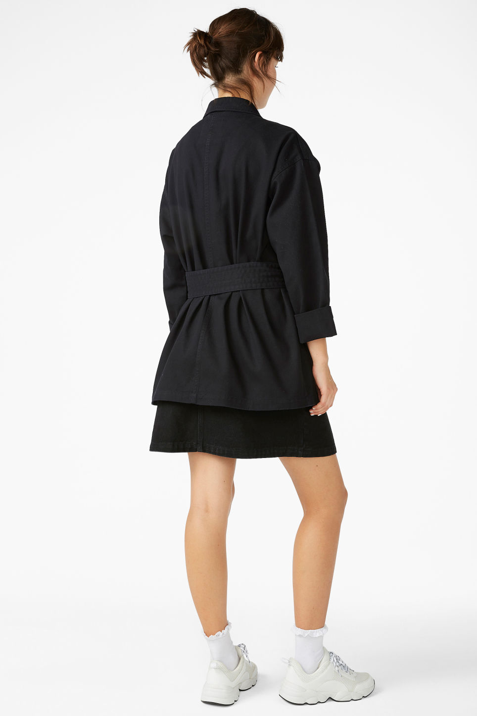Model back image of Monki utility jacket in black