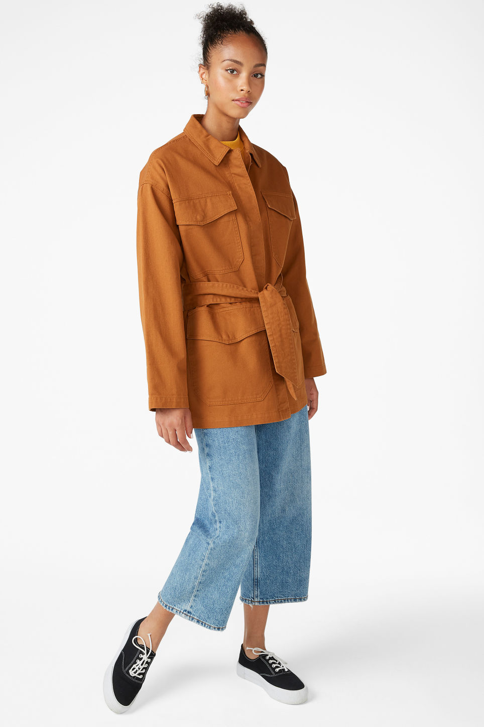 Model front image of Monki utility jacket in orange