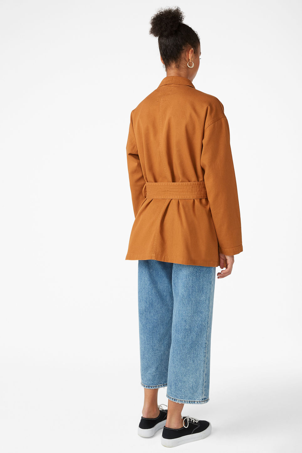 Model back image of Monki utility jacket in orange