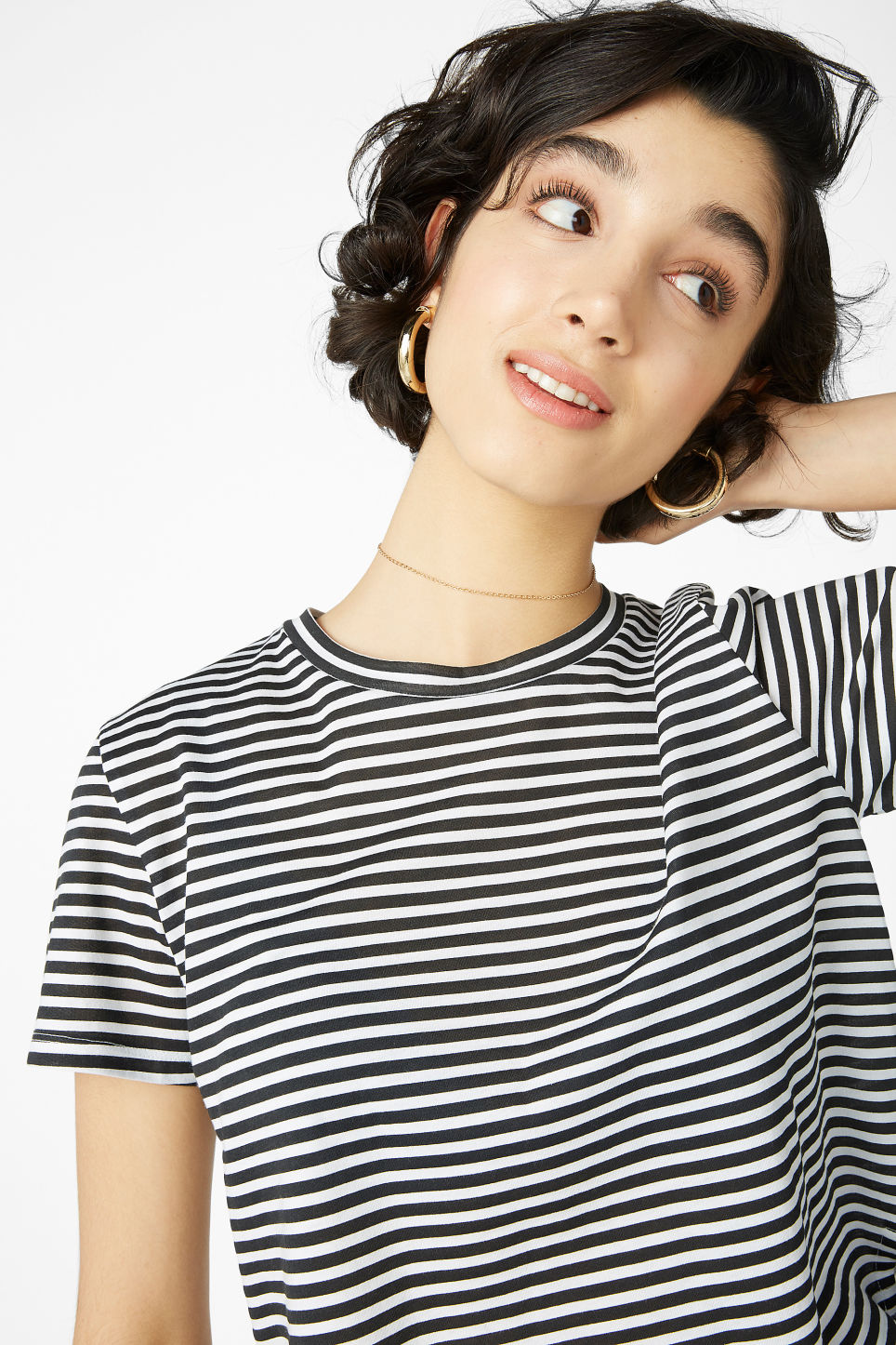 Model front image of Monki cropped tee in black